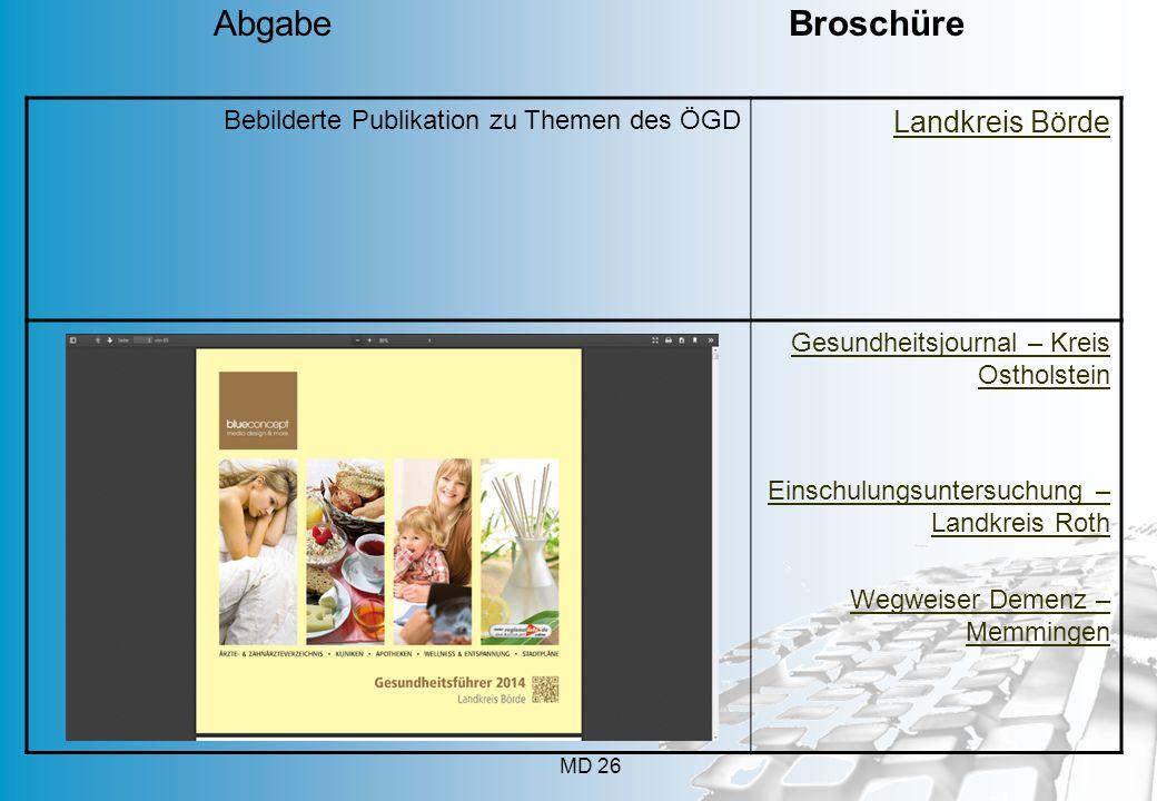 MD 26 Bebilderte Publikation zu Themen des ÖGD Landkreis Börde Gesundheitsjournal – Kreis Ostholstein Einschulungsuntersuchung – Landkreis Roth Wegwei
