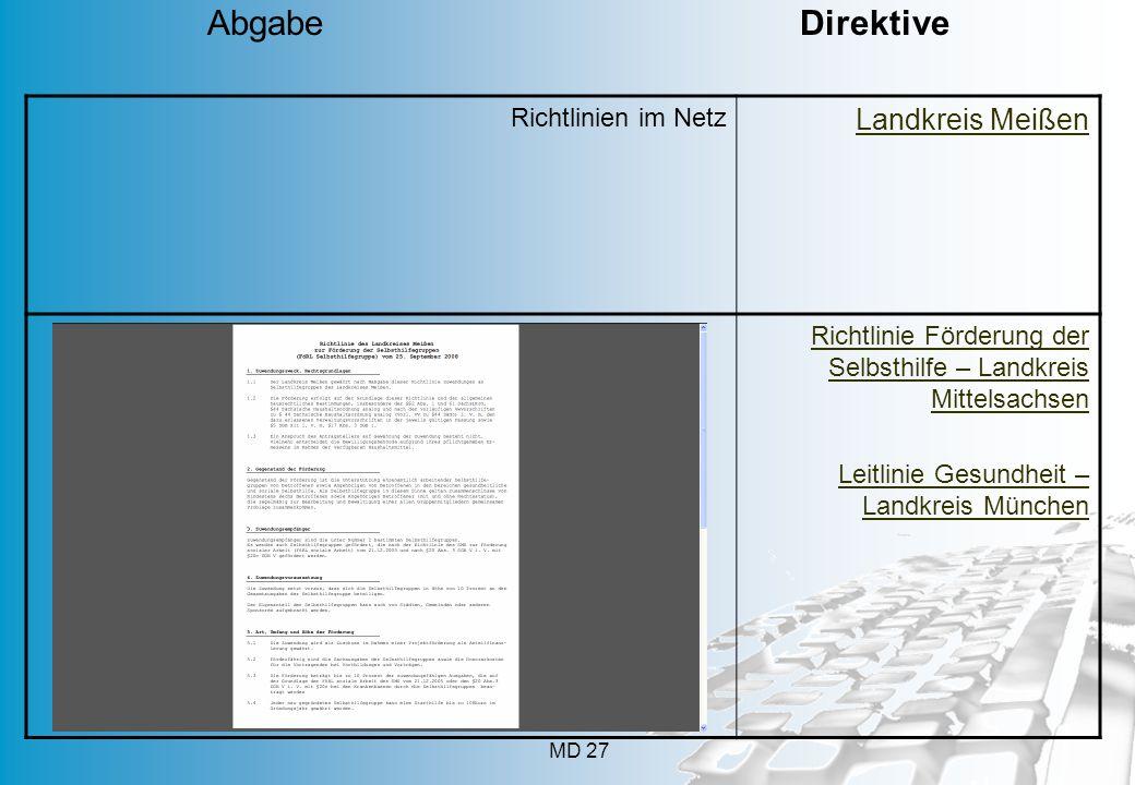 MD 27 Richtlinien im Netz Landkreis Meißen Richtlinie Förderung der Selbsthilfe – Landkreis Mittelsachsen Leitlinie Gesundheit – Landkreis München Abg