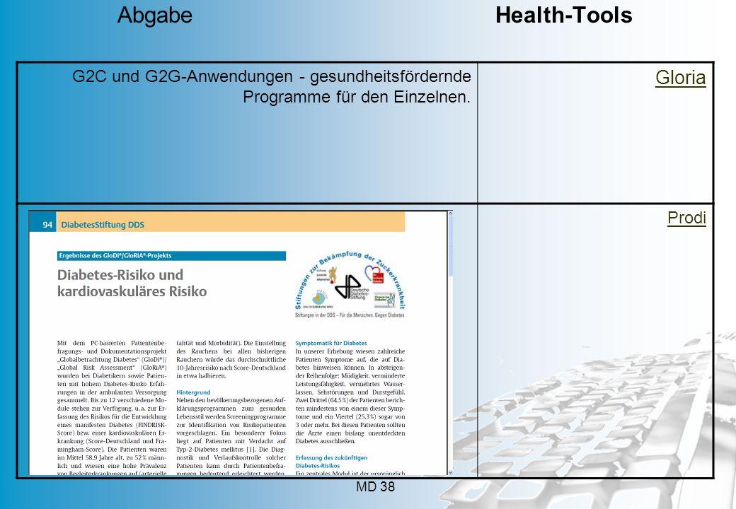 MD 38 G2C und G2G-Anwendungen - gesundheitsfördernde Programme für den Einzelnen. Gloria Prodi Abgabe Health-Tools