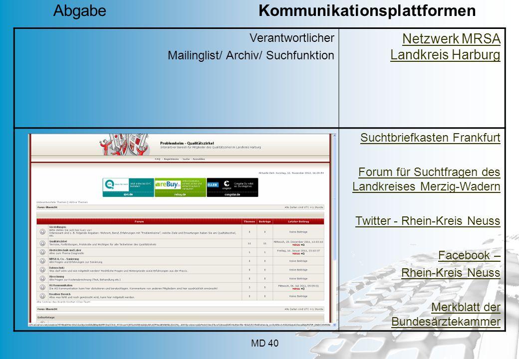 MD 40 Verantwortlicher Mailinglist/ Archiv/ Suchfunktion Netzwerk MRSA Landkreis Harburg Suchtbriefkasten Frankfurt Forum für Suchtfragen des Landkrei