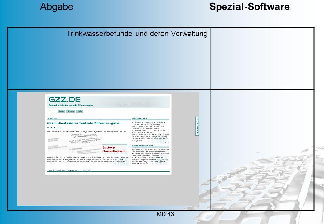 MD 43 Trinkwasserbefunde und deren Verwaltung Abgabe Spezial-Software