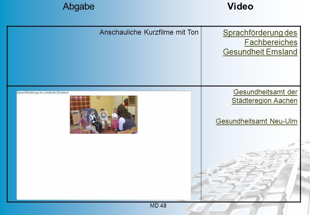MD 48 Anschauliche Kurzfilme mit Ton Sprachförderung des Fachbereiches Gesundheit Emsland Gesundheitsamt der Städteregion Aachen Gesundheitsamt Neu-Ul