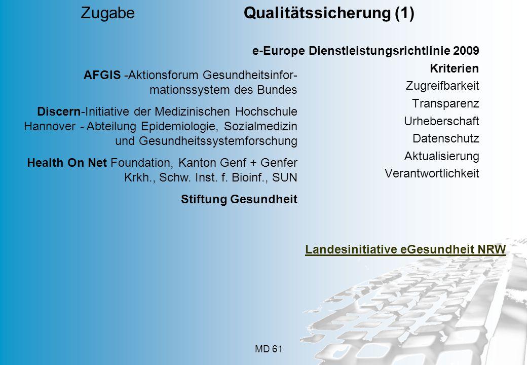 MD 61 e-Europe Dienstleistungsrichtlinie 2009 Kriterien Zugreifbarkeit Transparenz Urheberschaft Datenschutz Aktualisierung Verantwortlichkeit Zugabe