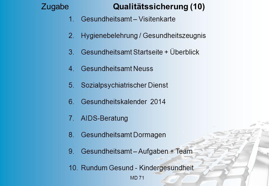 MD 71 Zugabe Qualitätssicherung (10) 1.Gesundheitsamt – Visitenkarte 2.Hygienebelehrung / Gesundheitszeugnis 3.Gesundheitsamt Startseite + Überblick 4