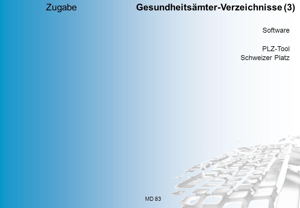MD 83 Software PLZ-Tool Schweizer Platz Zugabe Gesundheitsämter-Verzeichnisse (3)