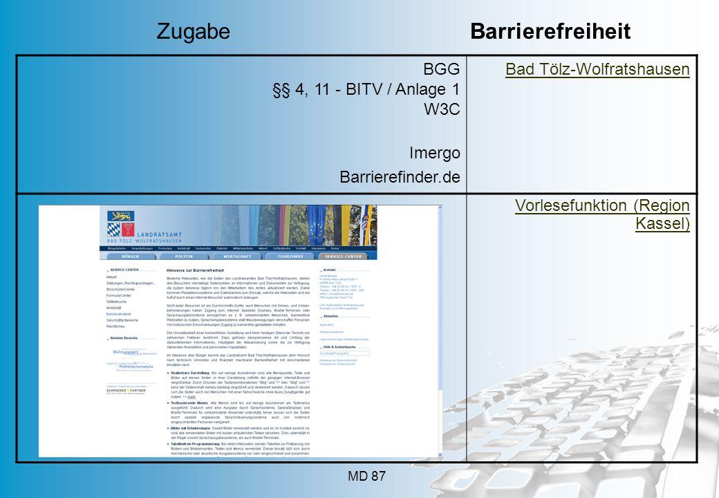 MD 87 BGG §§ 4, 11 - BITV / Anlage 1 W3C Imergo Barrierefinder.de Bad Tölz-Wolfratshausen Vorlesefunktion (Region Kassel) Zugabe Barrierefreiheit