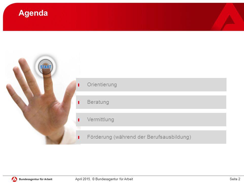 Seite 2 Agenda Orientierung Beratung Vermittlung April 2015, © Bundesagentur für Arbeit Förderung (während der Berufsausbildung)