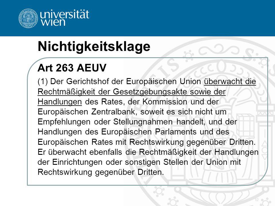 Nichtigkeitsklage Art 263 AEUV (1) Der Gerichtshof der Europäischen Union überwacht die Rechtmäßigkeit der Gesetzgebungsakte sowie der Handlungen des