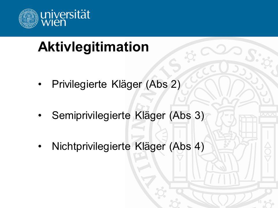 Aktivlegitimation Privilegierte Kläger (Abs 2) Semiprivilegierte Kläger (Abs 3) Nichtprivilegierte Kläger (Abs 4) 18