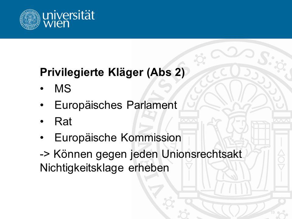 Privilegierte Kläger (Abs 2) MS Europäisches Parlament Rat Europäische Kommission -> Können gegen jeden Unionsrechtsakt Nichtigkeitsklage erheben 19