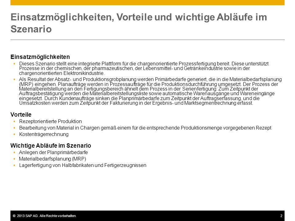 ©2013 SAP AG. Alle Rechte vorbehalten.2 Einsatzmöglichkeiten, Vorteile und wichtige Abläufe im Szenario Einsatzmöglichkeiten  Dieses Szenario stellt
