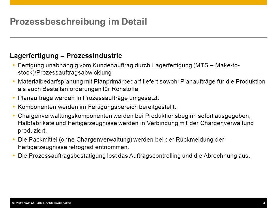 ©2013 SAP AG. Alle Rechte vorbehalten.4 Prozessbeschreibung im Detail Lagerfertigung – Prozessindustrie  Fertigung unabhängig vom Kundenauftrag durch