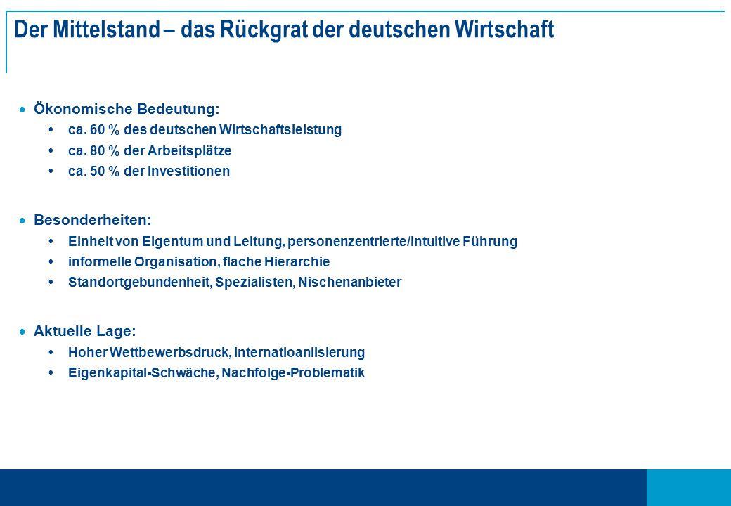 Der Mittelstand – das Rückgrat der deutschen Wirtschaft  Ökonomische Bedeutung:  ca.