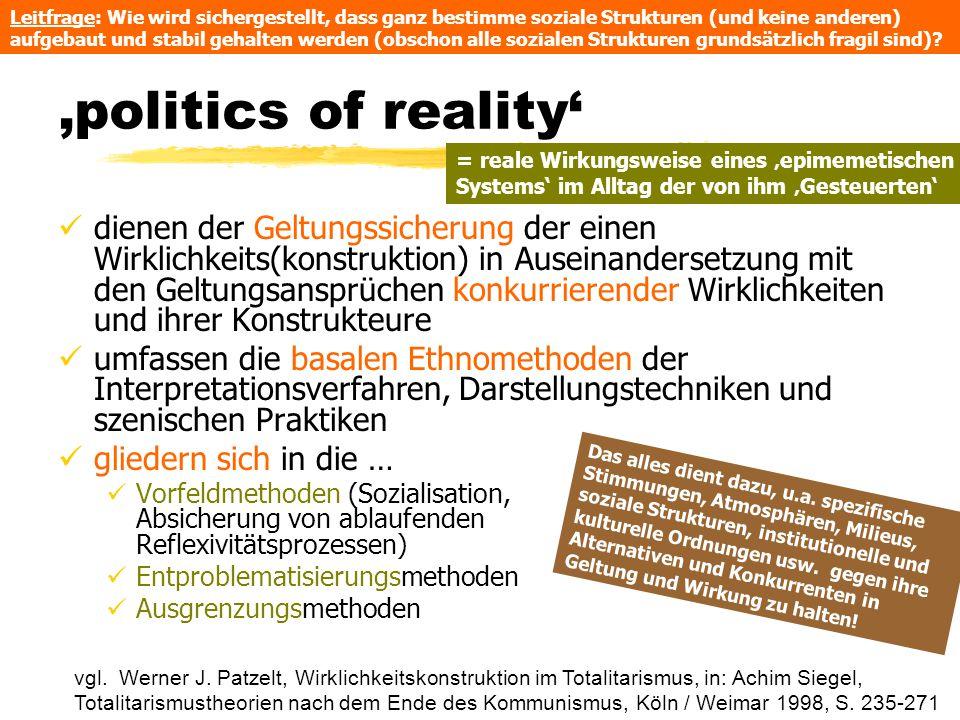 'politics of reality' dienen der Geltungssicherung der einen Wirklichkeits(konstruktion) in Auseinandersetzung mit den Geltungsansprüchen konkurrieren