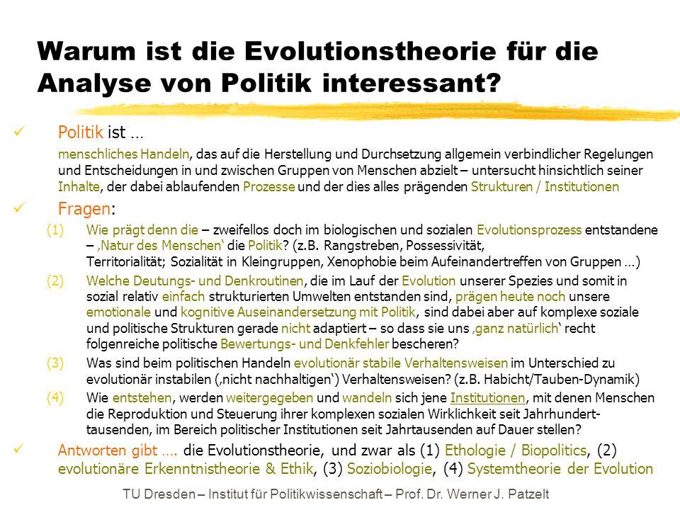 Warum ist die Evolutionstheorie für die Analyse von Politik interessant? Politik ist … menschliches Handeln, das auf die Herstellung und Durchsetzung