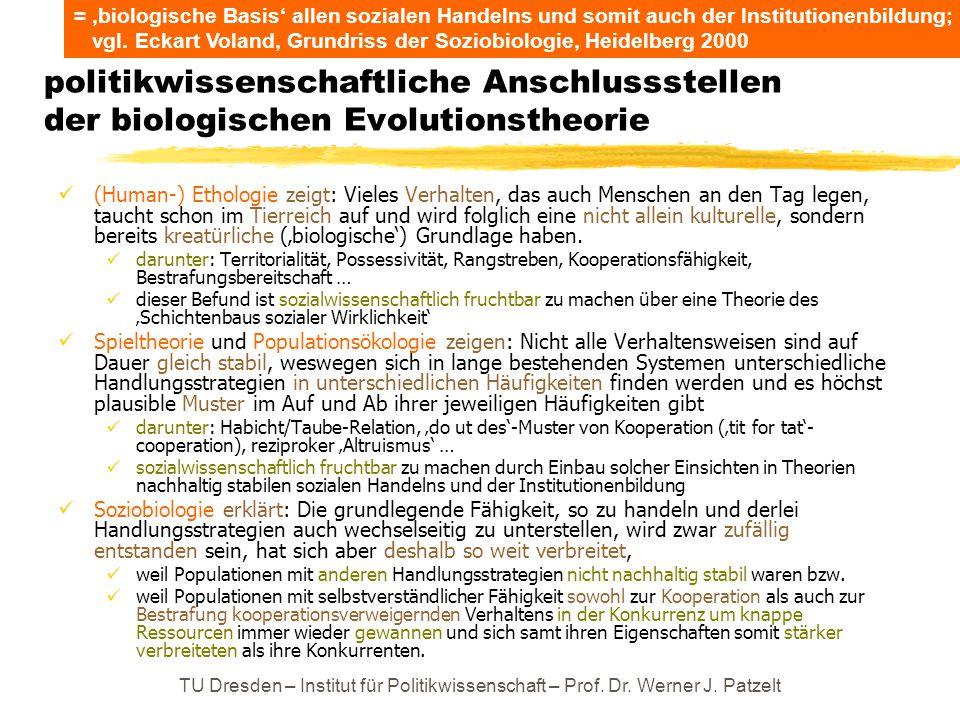 politikwissenschaftliche Anschlussstellen der biologischen Evolutionstheorie (Human-) Ethologie zeigt: Vieles Verhalten, das auch Menschen an den Tag