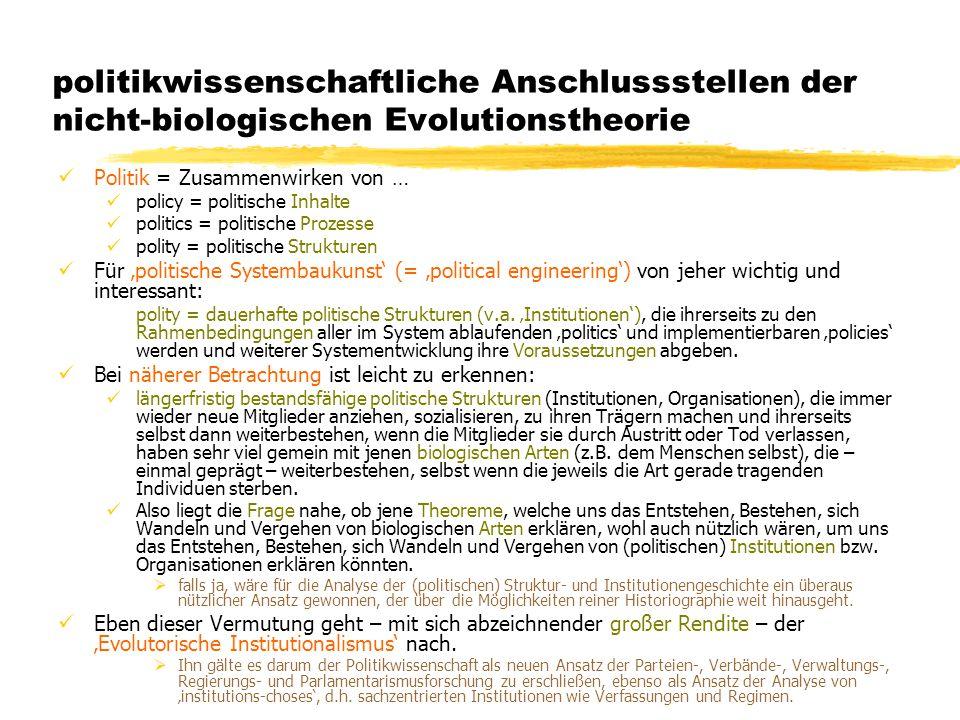 TU Dresden – Institut für Politikwissenschaft – Prof. Dr. Werner J. Patzelt politikwissenschaftliche Anschlussstellen der nicht-biologischen Evolution