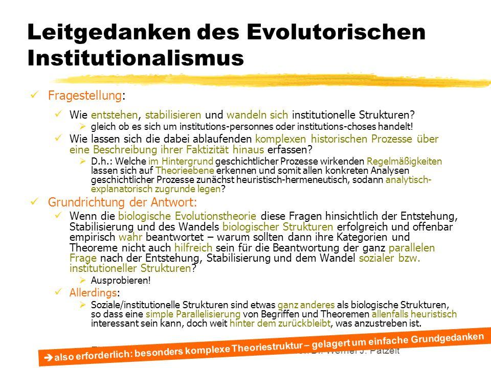 TU Dresden – Institut für Politikwissenschaft – Prof. Dr. Werner J. Patzelt Leitgedanken des Evolutorischen Institutionalismus Fragestellung: Wie ents