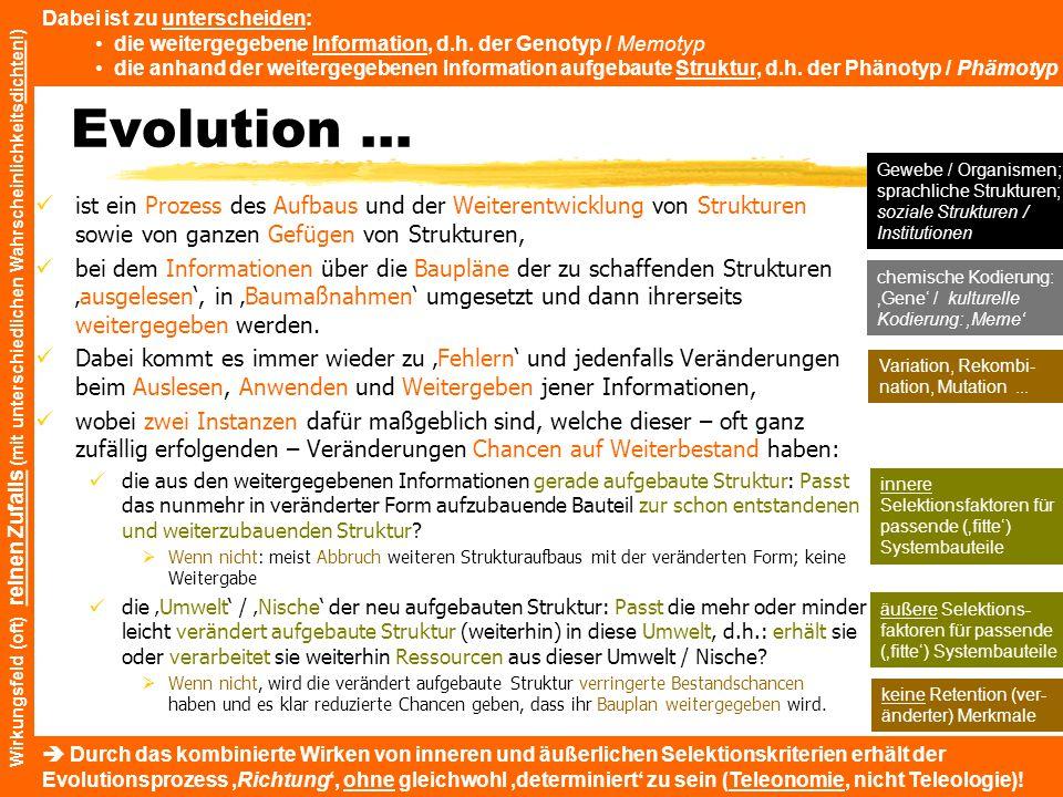 Evolution … ist ein Prozess des Aufbaus und der Weiterentwicklung von Strukturen sowie von ganzen Gefügen von Strukturen, bei dem Informationen über d