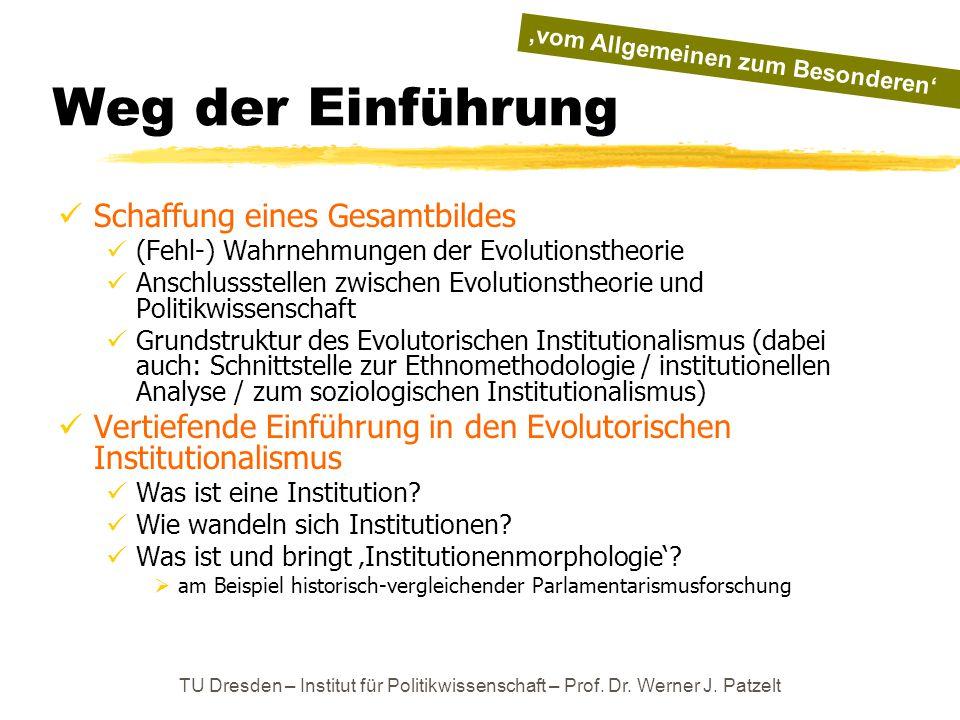 TU Dresden – Institut für Politikwissenschaft – Prof. Dr. Werner J. Patzelt Weg der Einführung Schaffung eines Gesamtbildes (Fehl-) Wahrnehmungen der