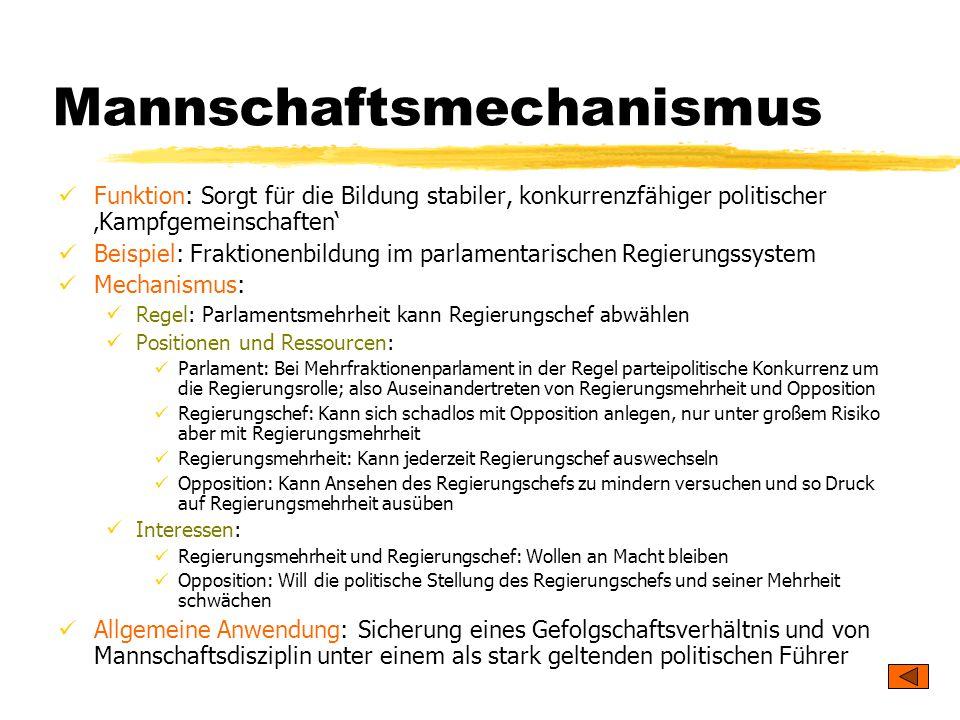 TU Dresden – Institut für Politikwissenschaft – Prof. Dr. Werner J. Patzelt Mannschaftsmechanismus Funktion: Sorgt für die Bildung stabiler, konkurren