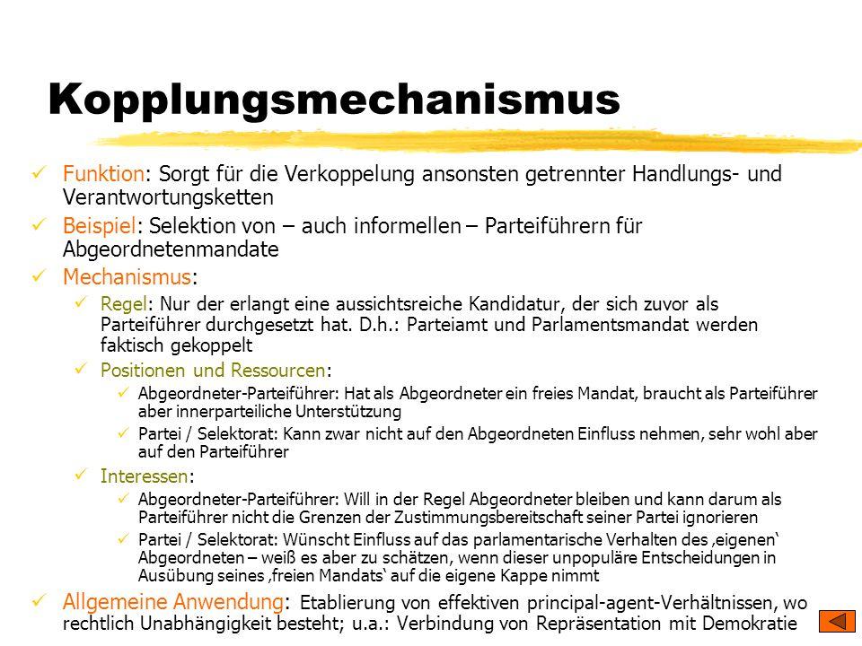 TU Dresden – Institut für Politikwissenschaft – Prof. Dr. Werner J. Patzelt Kopplungsmechanismus Funktion: Sorgt für die Verkoppelung ansonsten getren
