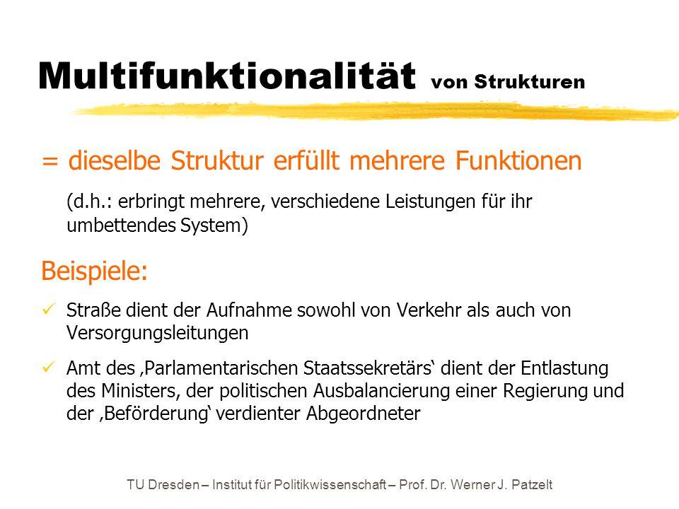 TU Dresden – Institut für Politikwissenschaft – Prof. Dr. Werner J. Patzelt Multifunktionalität von Strukturen = dieselbe Struktur erfüllt mehrere Fun