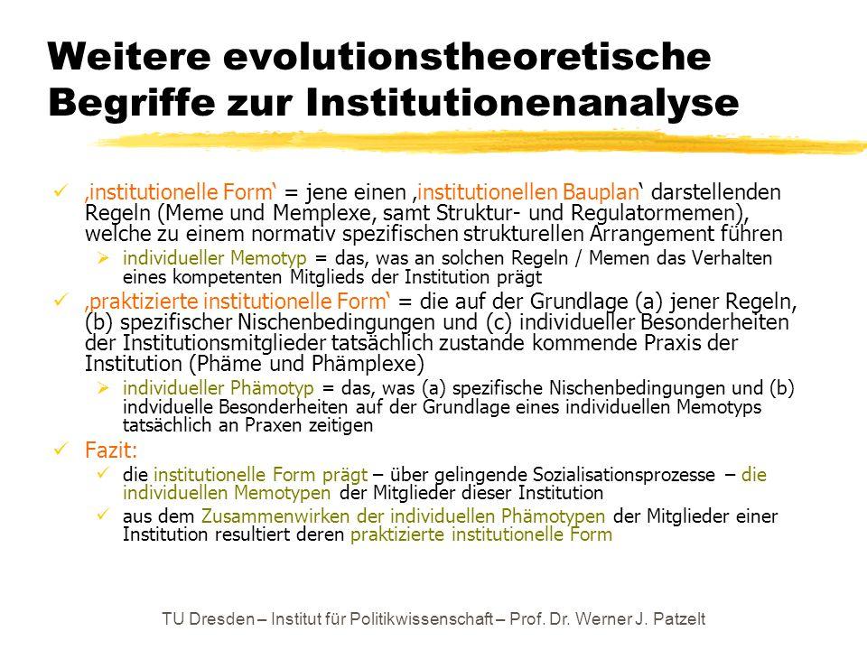 TU Dresden – Institut für Politikwissenschaft – Prof. Dr. Werner J. Patzelt Weitere evolutionstheoretische Begriffe zur Institutionenanalyse 'institut
