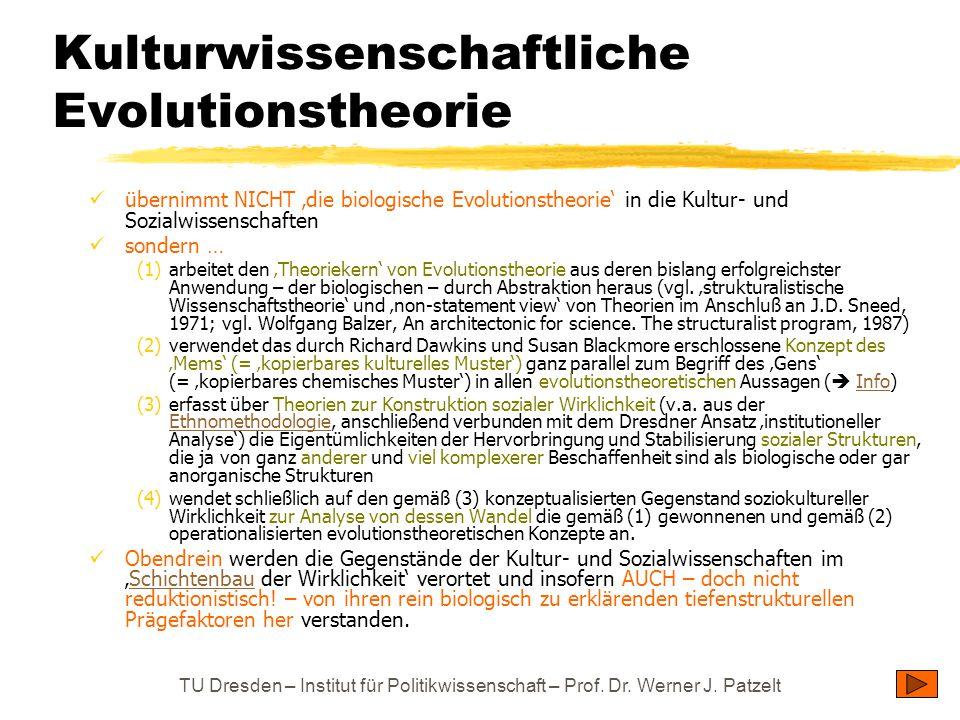 TU Dresden – Institut für Politikwissenschaft – Prof. Dr. Werner J. Patzelt Kulturwissenschaftliche Evolutionstheorie übernimmt NICHT 'die biologische