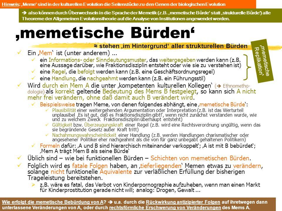 TU Dresden – Institut für Politikwissenschaft – Prof. Dr. Werner J. Patzelt 'memetische Bürden' Ein 'Mem' ist (unter anderem)... ein Informations- ode