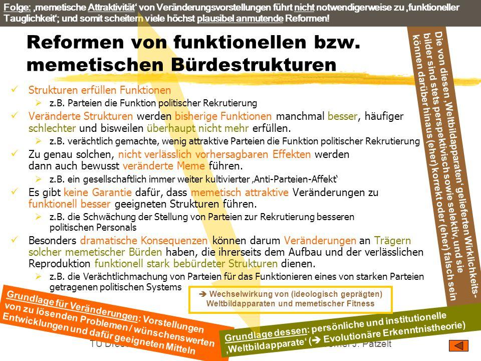 TU Dresden – Institut für Politikwissenschaft – Prof. Dr. Werner J. Patzelt Die von diesen 'Weltbildapparaten' gelieferten Wirklichkeits- bilder sind