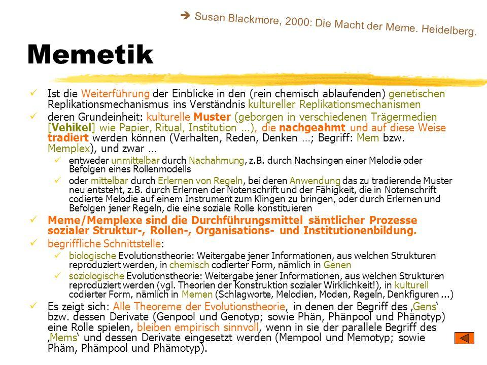 Memetik Ist die Weiterführung der Einblicke in den (rein chemisch ablaufenden) genetischen Replikationsmechanismus ins Verständnis kultureller Replika