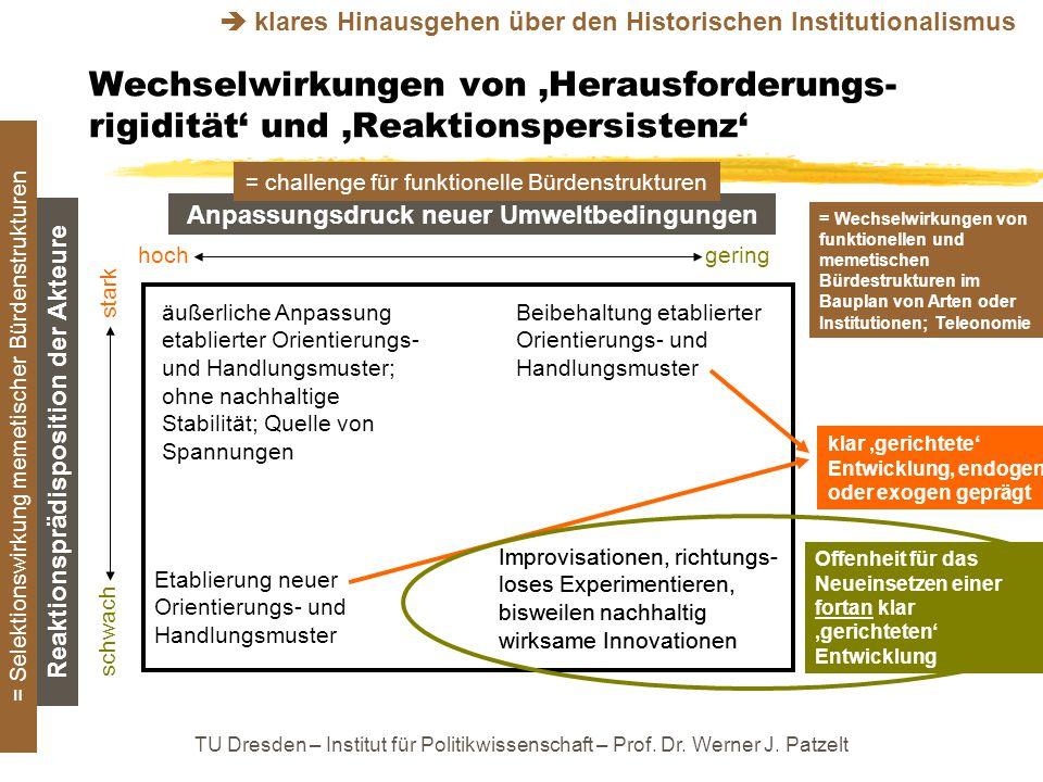 TU Dresden – Institut für Politikwissenschaft – Prof. Dr. Werner J. Patzelt Wechselwirkungen von 'Herausforderungs- rigidität' und 'Reaktionspersisten