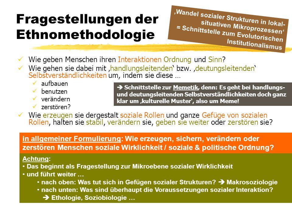 Fragestellungen der Ethnomethodologie Wie geben Menschen ihren Interaktionen Ordnung und Sinn? Wie gehen sie dabei mit 'handlungsleitenden' bzw. 'deut