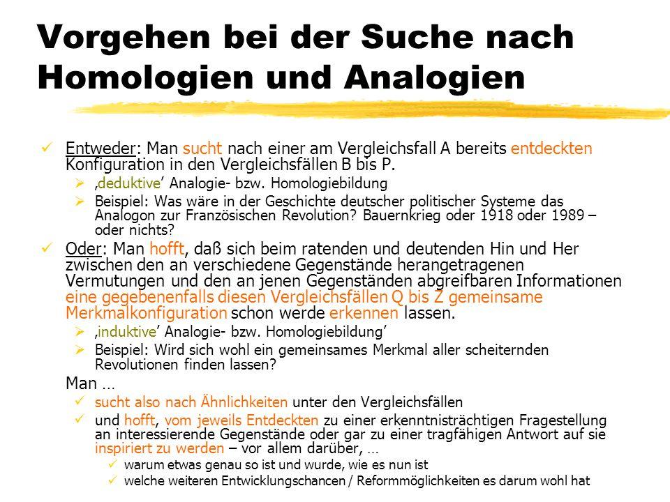 TU Dresden – Institut für Politikwissenschaft – Prof. Dr. Werner J. Patzelt Vorgehen bei der Suche nach Homologien und Analogien Entweder: Man sucht n