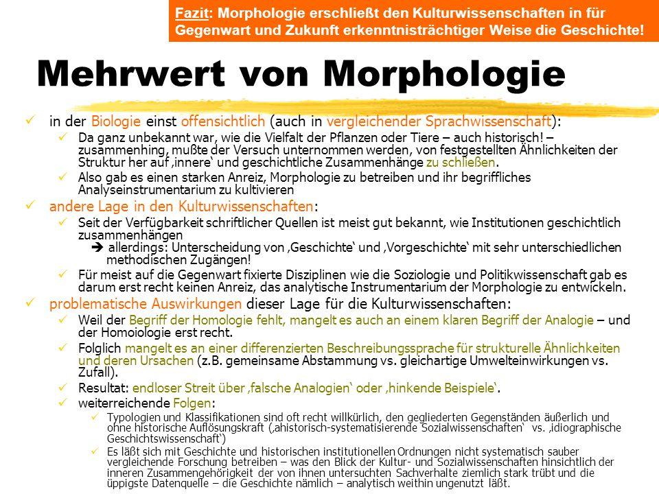 TU Dresden – Institut für Politikwissenschaft – Prof. Dr. Werner J. Patzelt Mehrwert von Morphologie in der Biologie einst offensichtlich (auch in ver