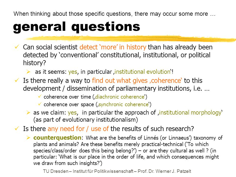 general questions Can social scientist detect 'more' in history than has already been detected by 'conventional' constitutional, institutional, or pol