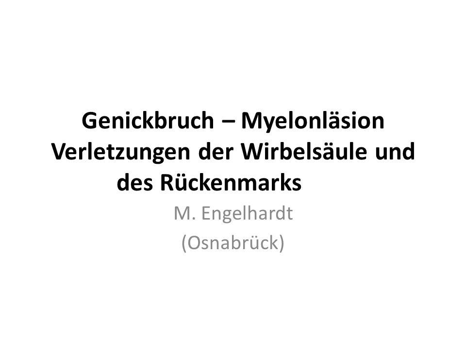 Genickbruch – Myelonläsion Verletzungen der Wirbelsäule und des Rückenmarks M. Engelhardt (Osnabrück)
