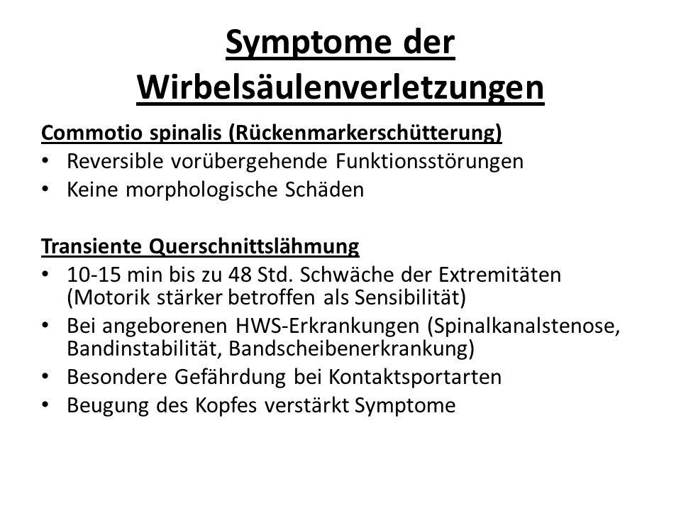 Symptome der Wirbelsäulenverletzungen Commotio spinalis (Rückenmarkerschütterung) Reversible vorübergehende Funktionsstörungen Keine morphologische Schäden Transiente Querschnittslähmung 10-15 min bis zu 48 Std.