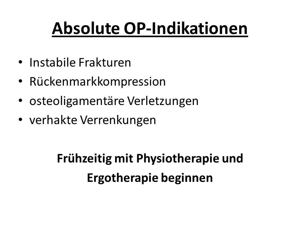 Absolute OP-Indikationen Instabile Frakturen Rückenmarkkompression osteoligamentäre Verletzungen verhakte Verrenkungen Frühzeitig mit Physiotherapie und Ergotherapie beginnen