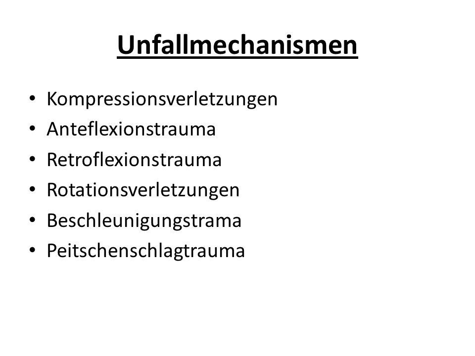 Unfallmechanismen Kompressionsverletzungen Anteflexionstrauma Retroflexionstrauma Rotationsverletzungen Beschleunigungstrama Peitschenschlagtrauma