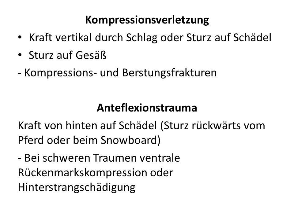 Kompressionsverletzung Kraft vertikal durch Schlag oder Sturz auf Schädel Sturz auf Gesäß - Kompressions- und Berstungsfrakturen Anteflexionstrauma Kr
