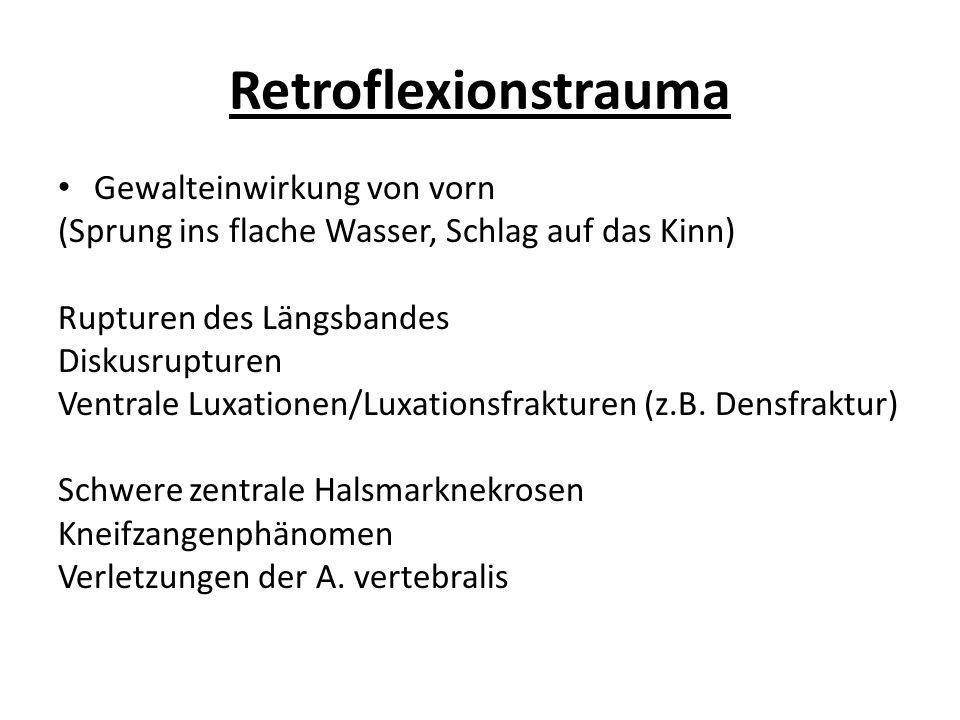Rotationsverletzungen/kombinierte Mechanismen Insbesondere im Bereich der unteren BWS/LWS Wirbelberstungsfrakturen mit Rückenmarkskompression und Konus-Kauda- Läsion