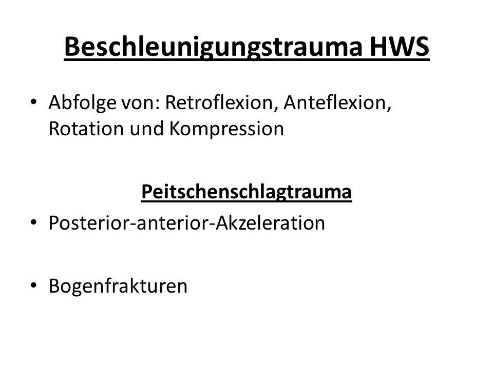 Beschleunigungstrauma HWS Abfolge von: Retroflexion, Anteflexion, Rotation und Kompression Peitschenschlagtrauma Posterior-anterior-Akzeleration Bogenfrakturen