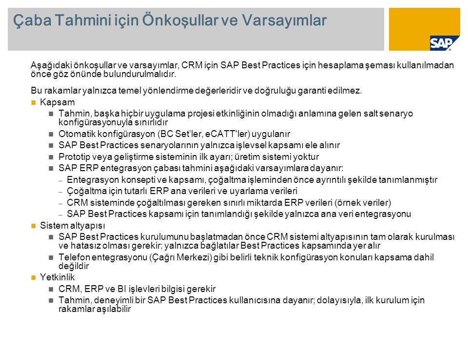 Çaba Tahmini için Önkoşullar ve Varsayımlar Aşağıdaki önkoşullar ve varsayımlar, CRM için SAP Best Practices için hesaplama şeması kullanılmadan önce göz önünde bulundurulmalıdır.