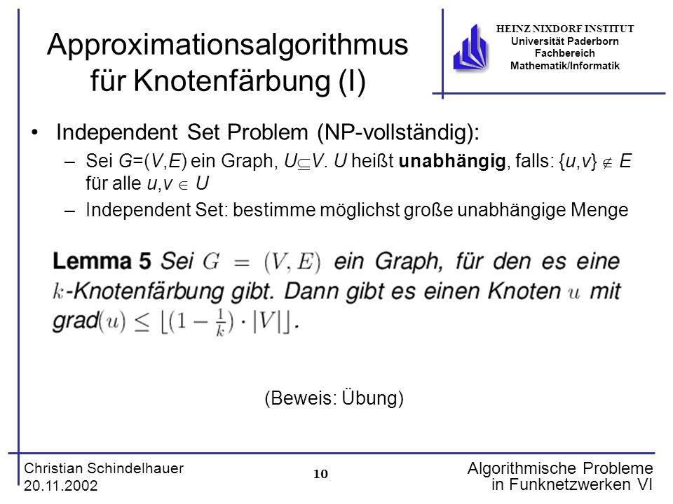 10 Christian Schindelhauer 20.11.2002 HEINZ NIXDORF INSTITUT Universität Paderborn Fachbereich Mathematik/Informatik Algorithmische Probleme in Funkne