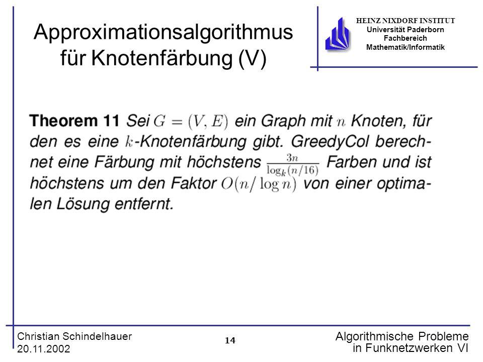 14 Christian Schindelhauer 20.11.2002 HEINZ NIXDORF INSTITUT Universität Paderborn Fachbereich Mathematik/Informatik Algorithmische Probleme in Funkne