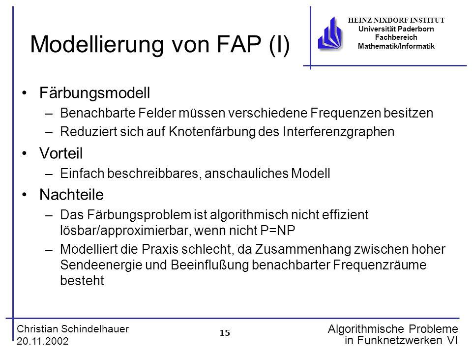 15 Christian Schindelhauer 20.11.2002 HEINZ NIXDORF INSTITUT Universität Paderborn Fachbereich Mathematik/Informatik Algorithmische Probleme in Funkne