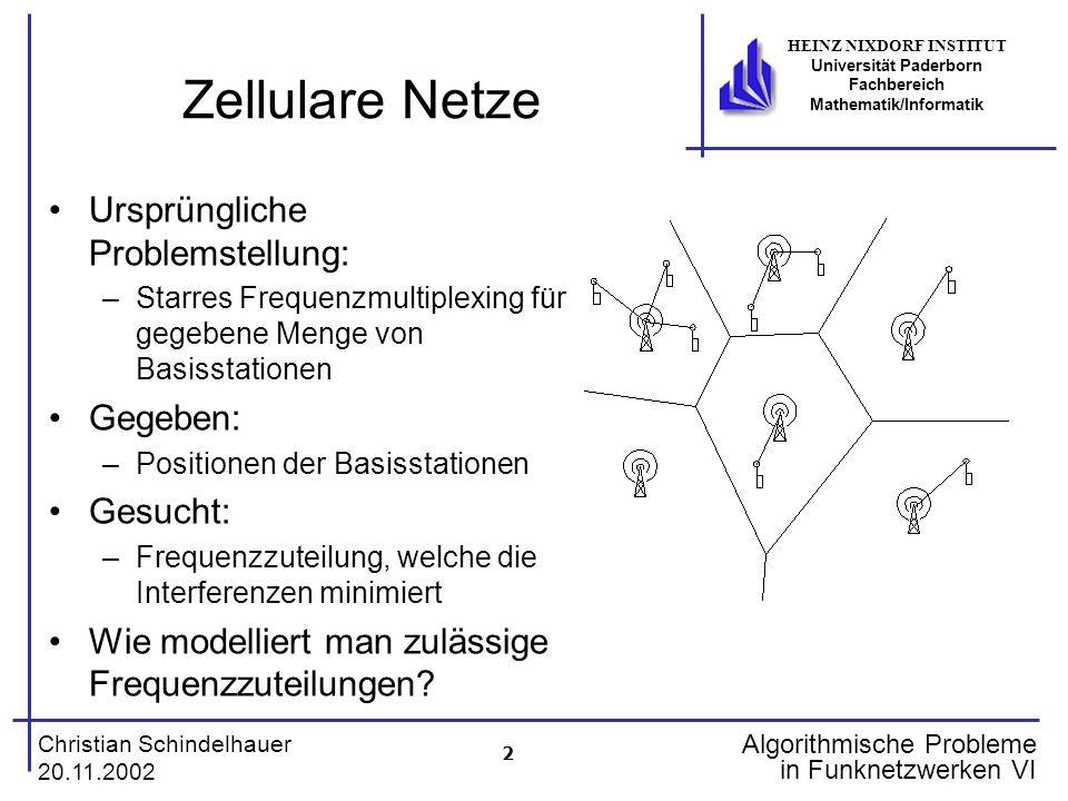 2 Christian Schindelhauer 20.11.2002 HEINZ NIXDORF INSTITUT Universität Paderborn Fachbereich Mathematik/Informatik Algorithmische Probleme in Funknet