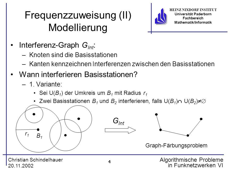 4 Christian Schindelhauer 20.11.2002 HEINZ NIXDORF INSTITUT Universität Paderborn Fachbereich Mathematik/Informatik Algorithmische Probleme in Funknet